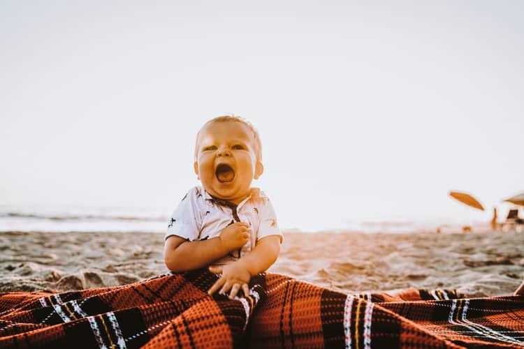 baby at Negombo beach