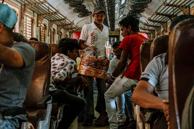 Vade vendor selling vade inside a train